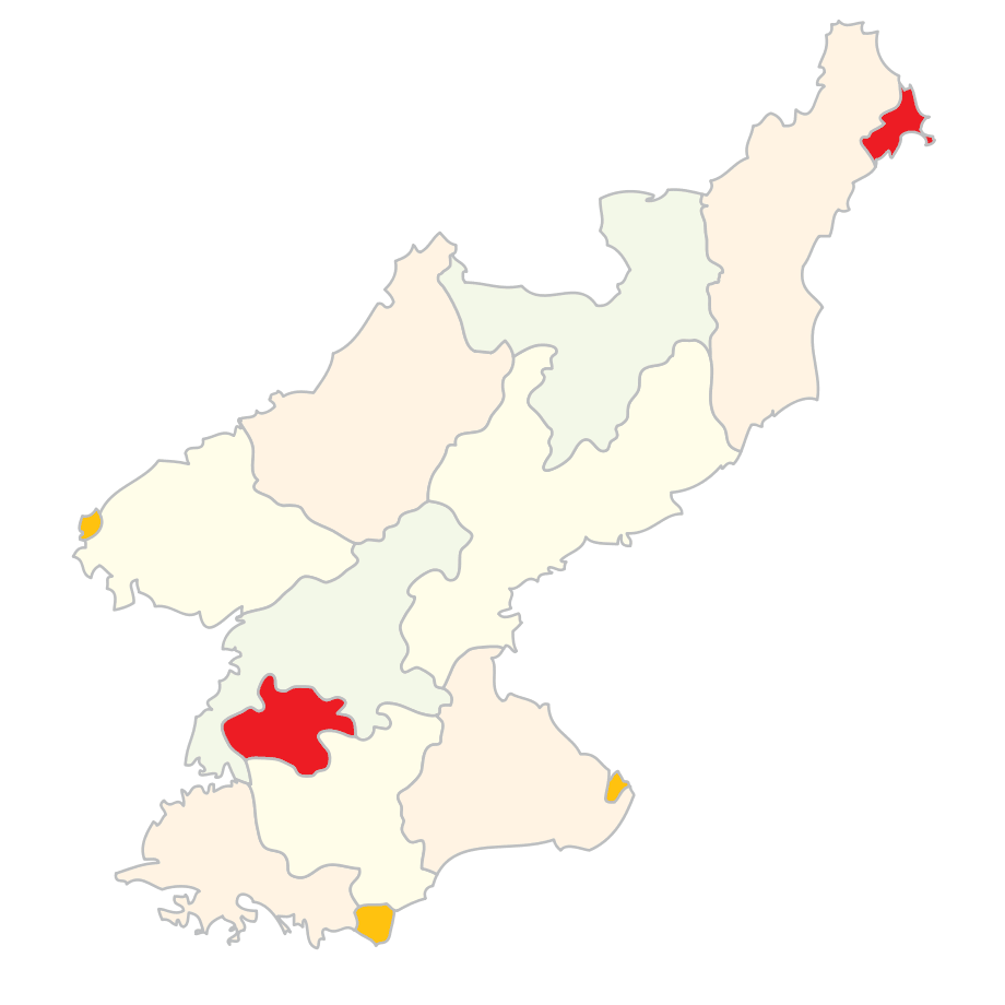 Subdivisions of North Korea (clear) large map