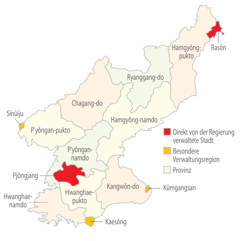 Subdivisions of North Korea (german) large map