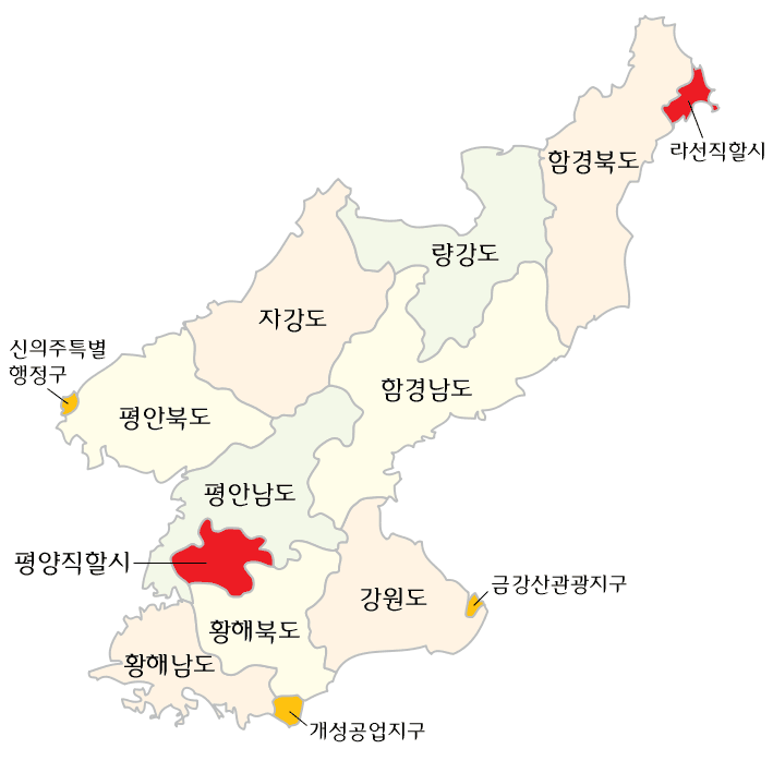 Subdivisions of North Korea (korean) large map