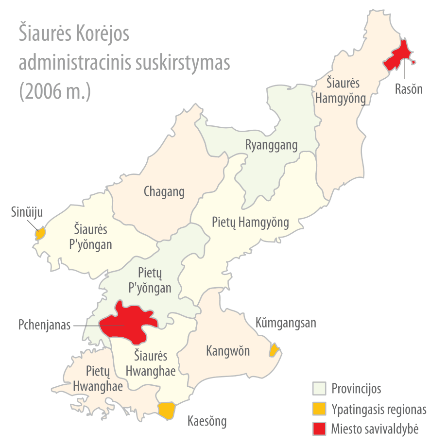 Subdivisions of North Korea (lithuanian) large map