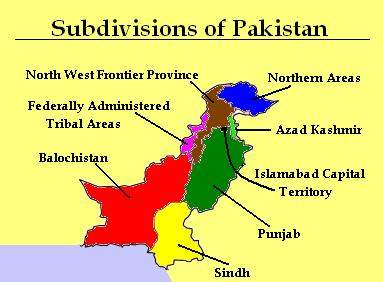 Subdivisions of Pakistan Map large map