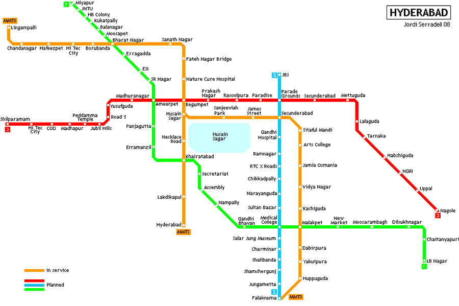 Subway Map Hyderabad large map