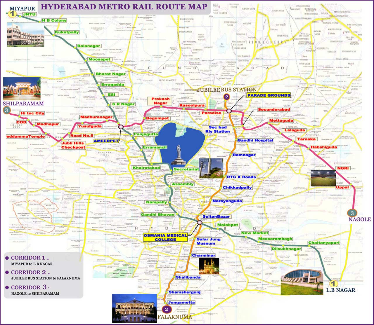 Subway Map of Hyderabad large map