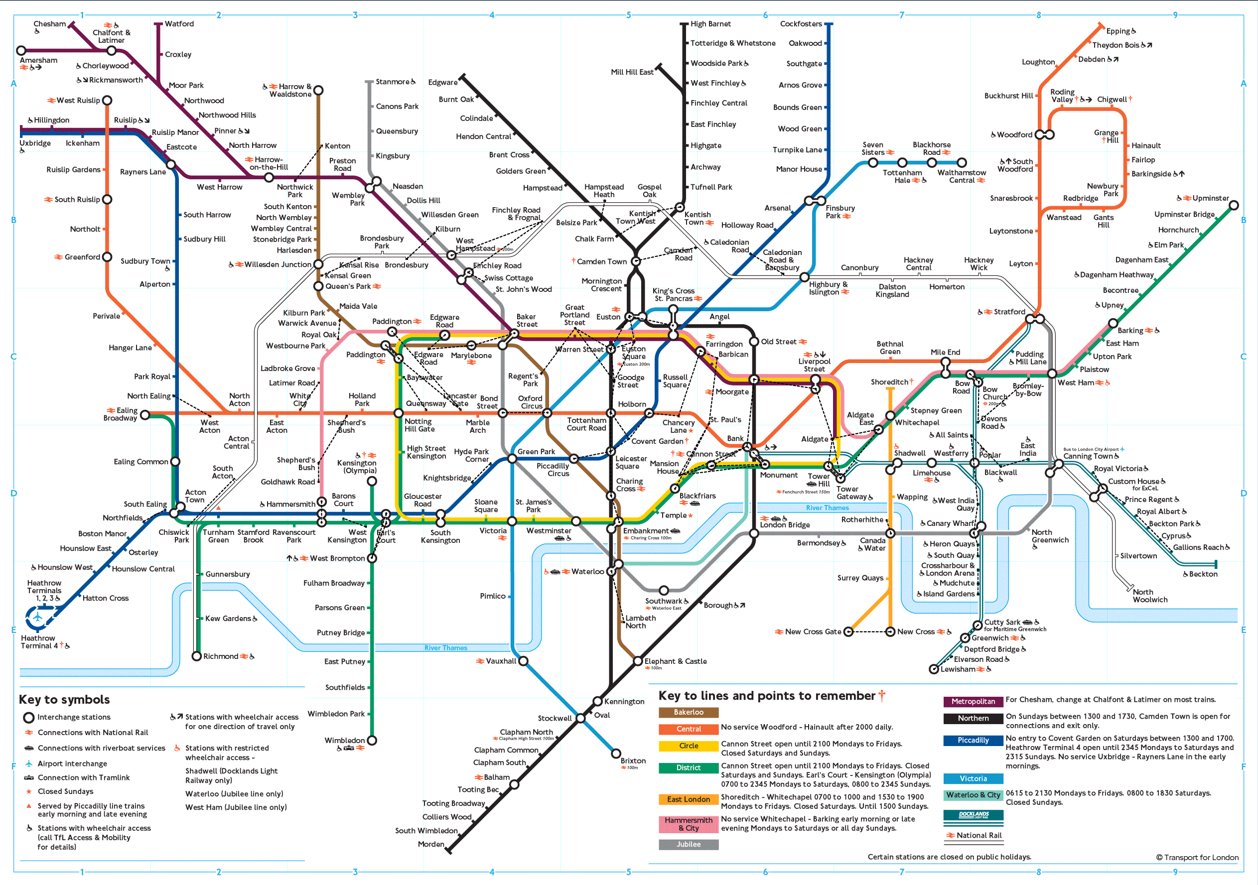 Subway Map of London large map