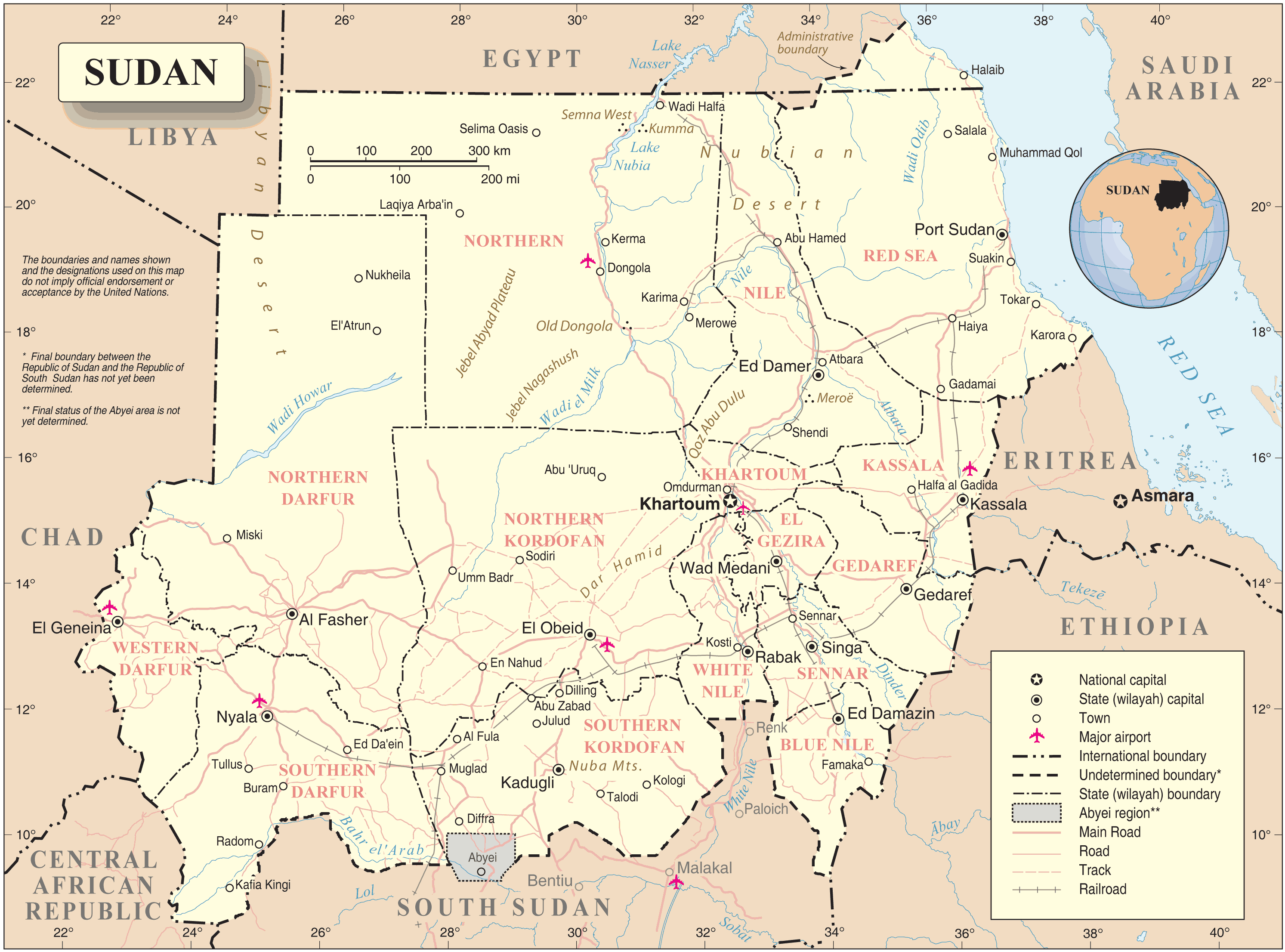 Sudan Map Mapsofnet - Sudan map