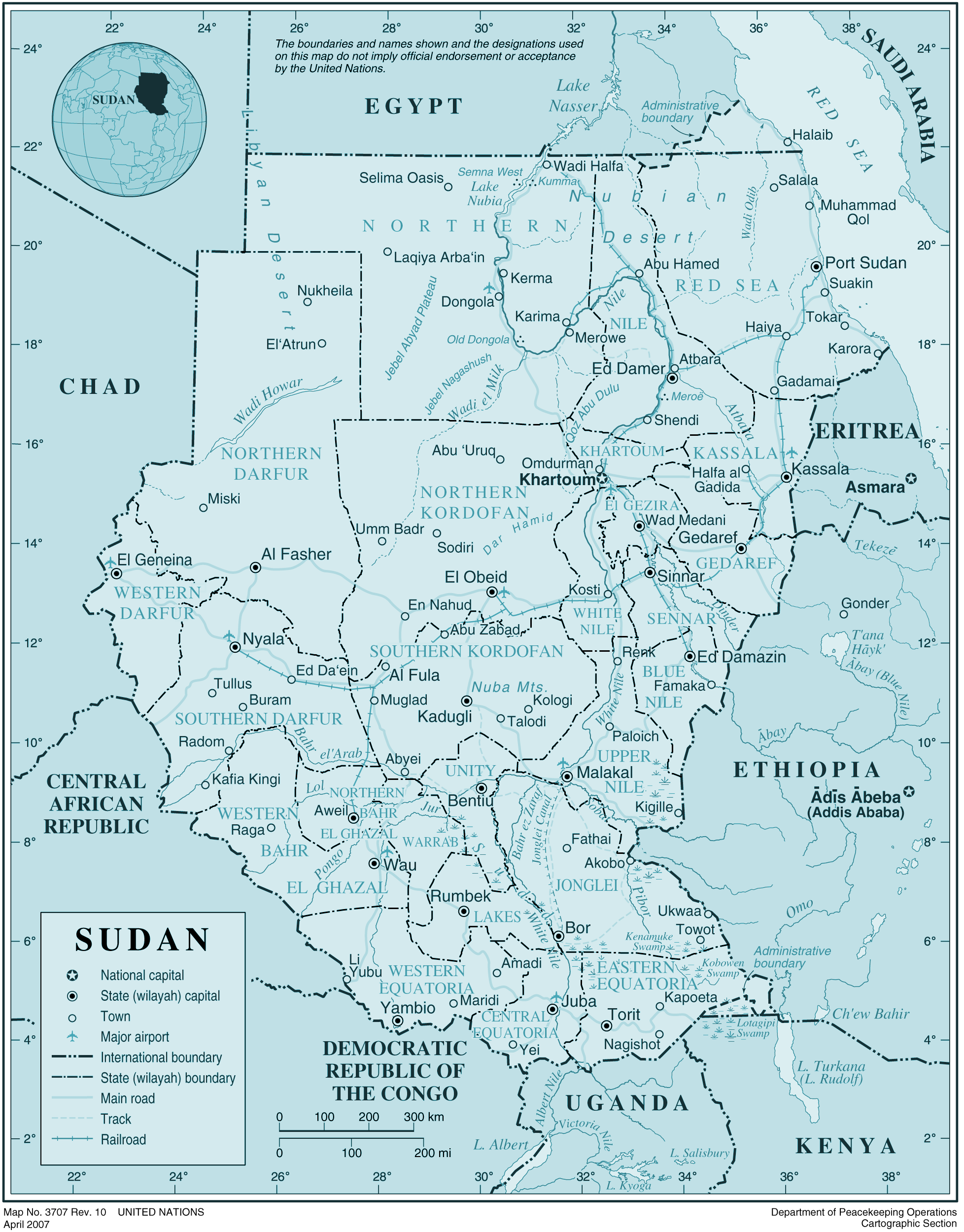 Sudan large map