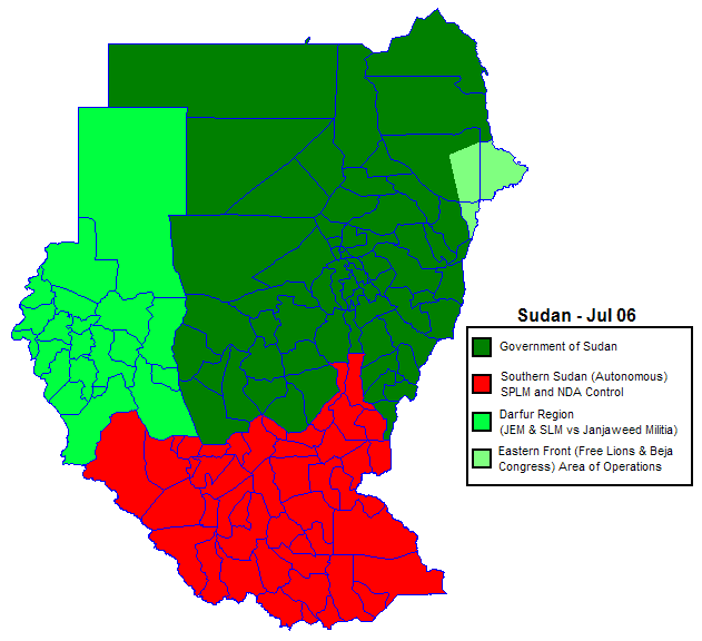 Sudan Politicaly Distrikt Map Jul2006 large map