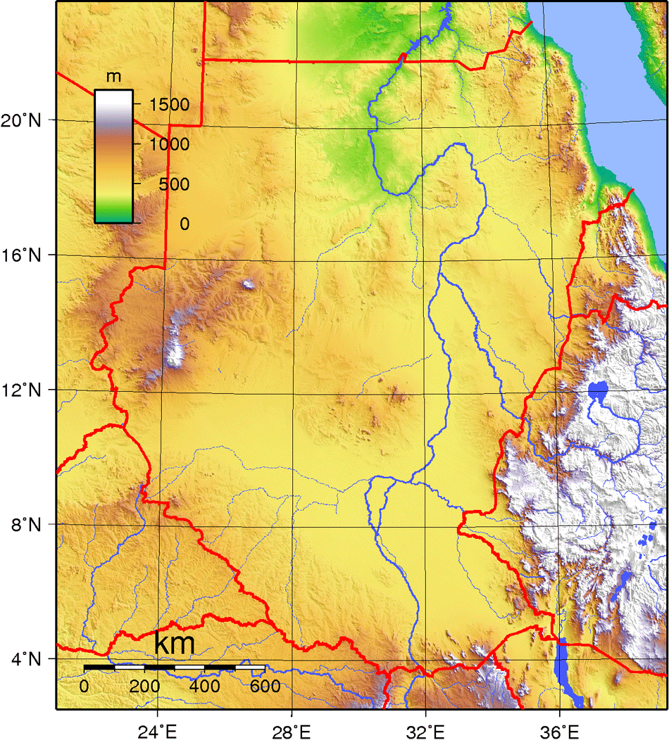 Sudan Topography large map