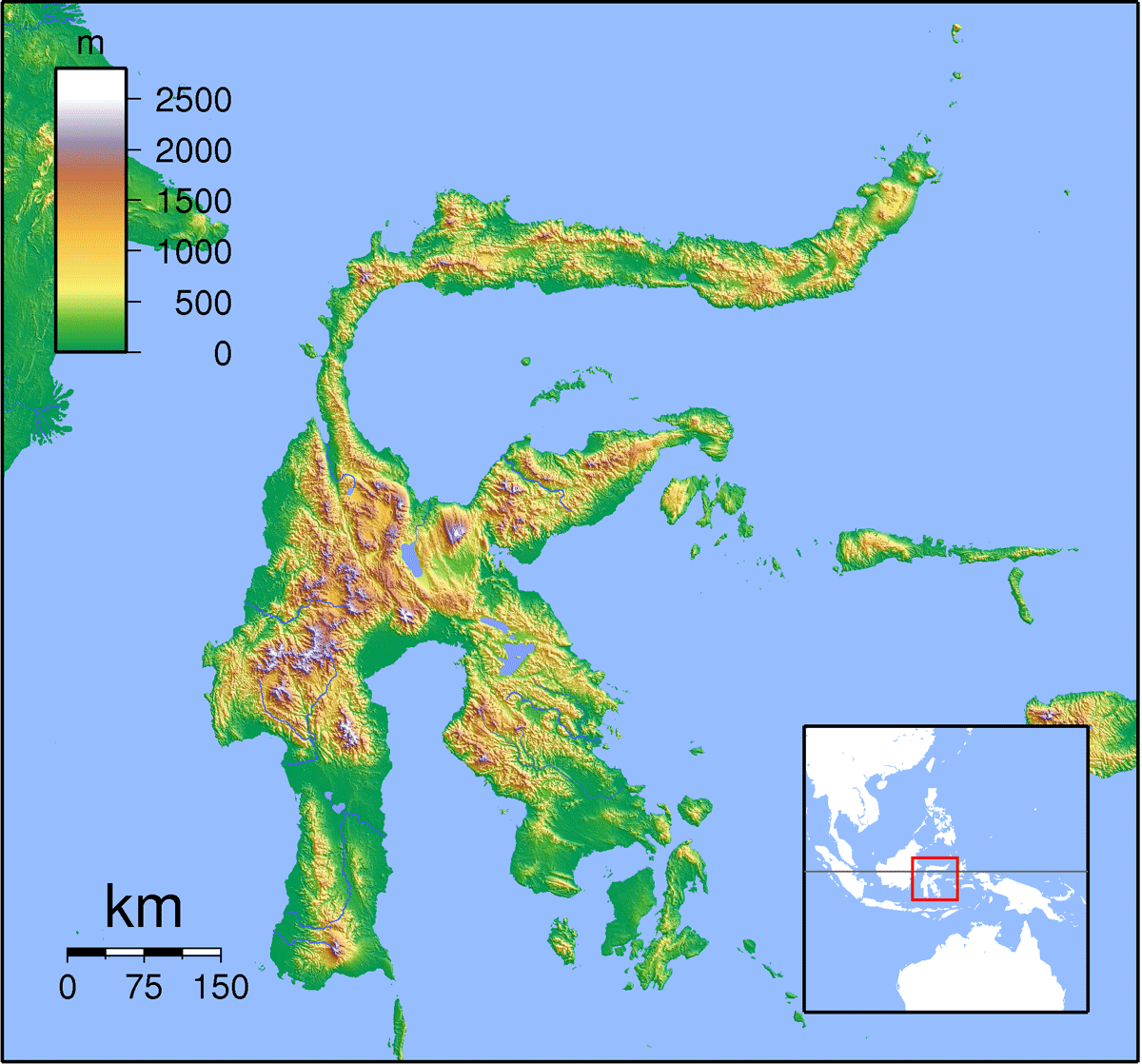 Sulawesi Locator Topography large map