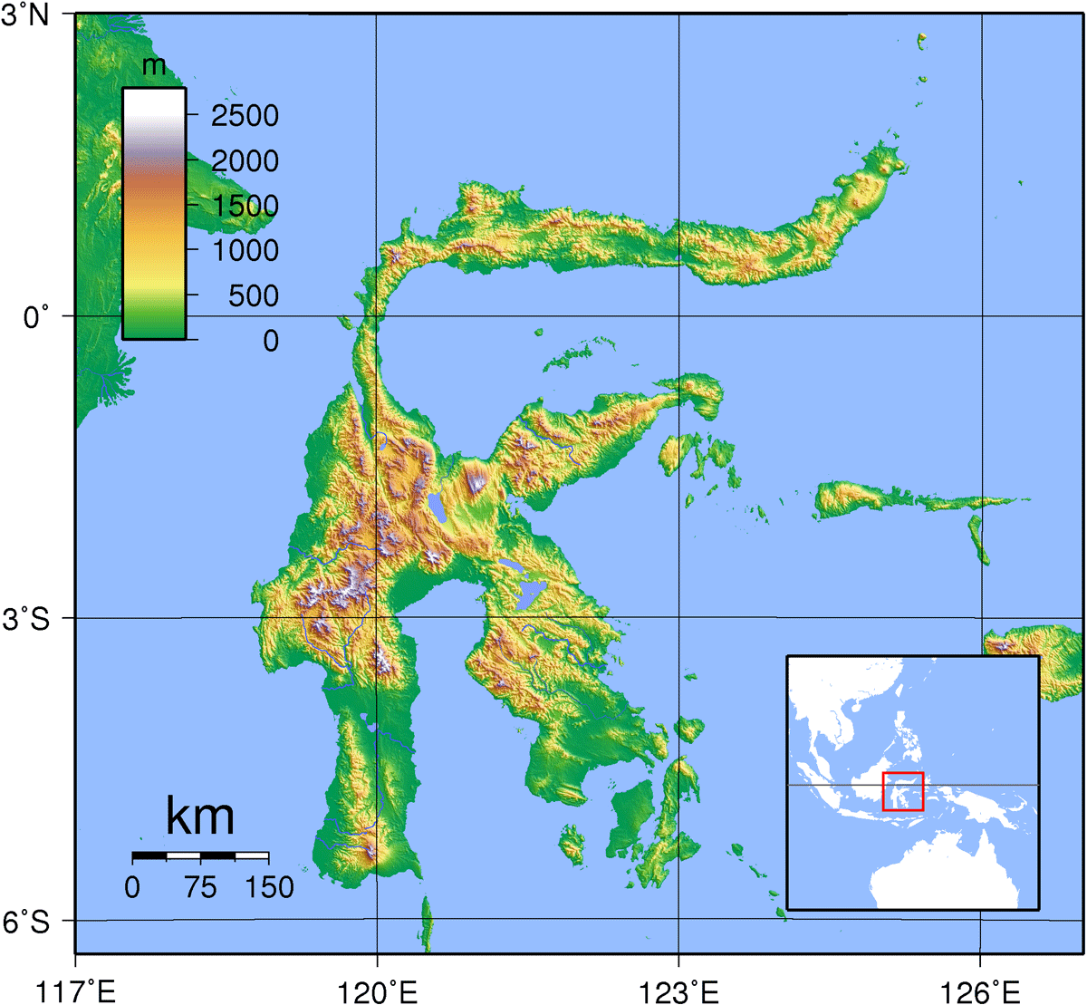 Sulawesi Topography large map
