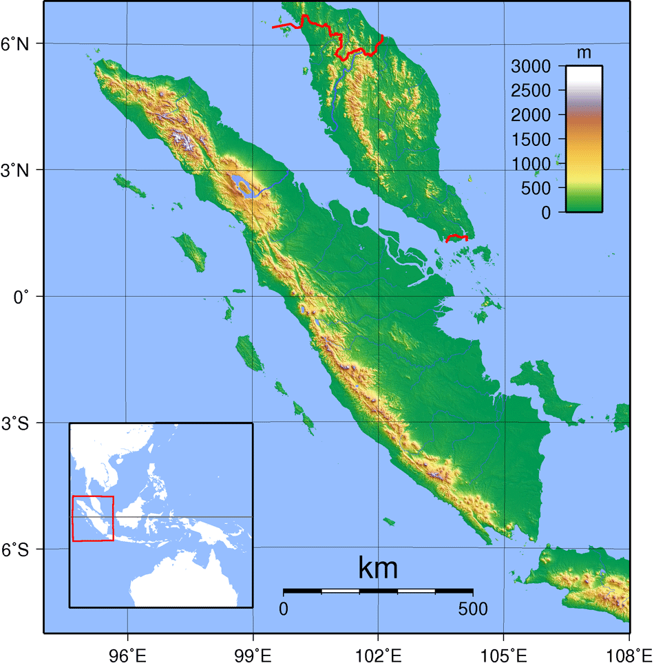 Sumatra Topography large map