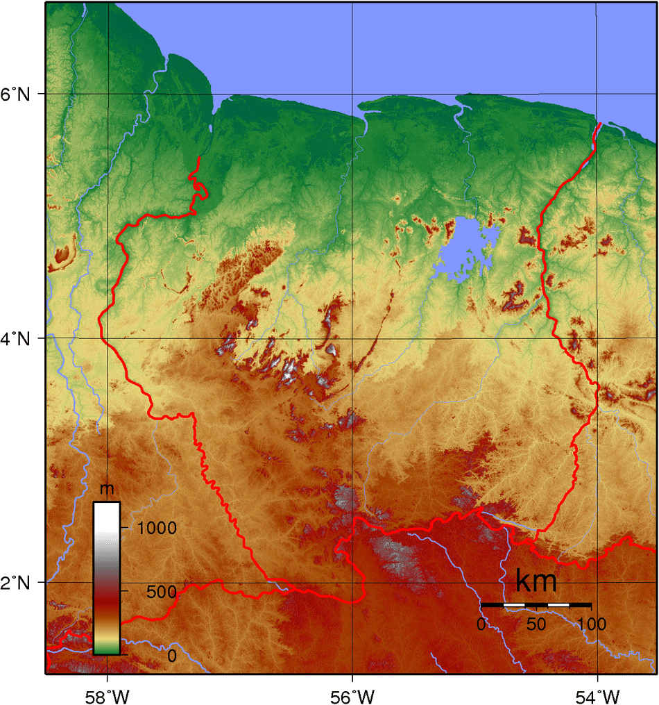 Suriname Topography large map