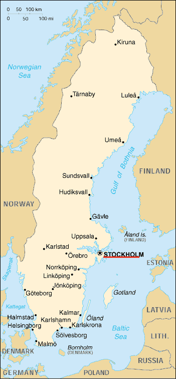 Sw Map, Cia World Factbook, Stockholm Pinpoint large map