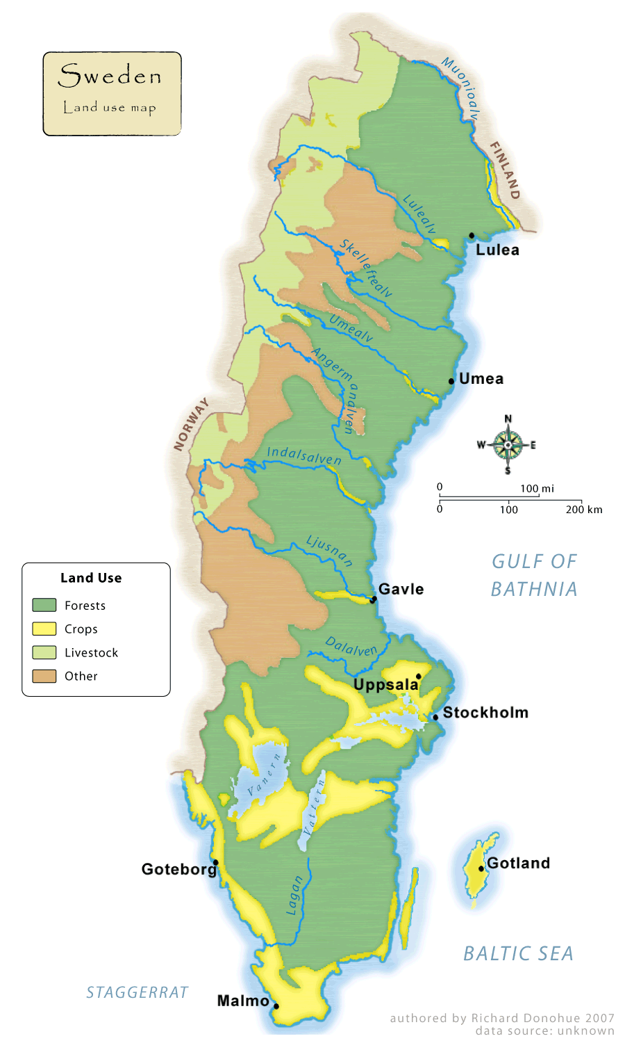 Sweden Land Use Map Mapsofnet - Sweden full map