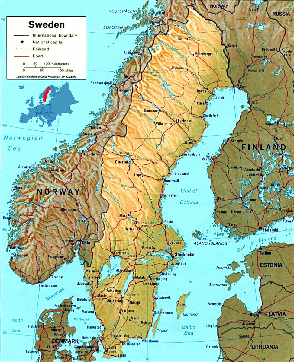Sweden Map Physical large map
