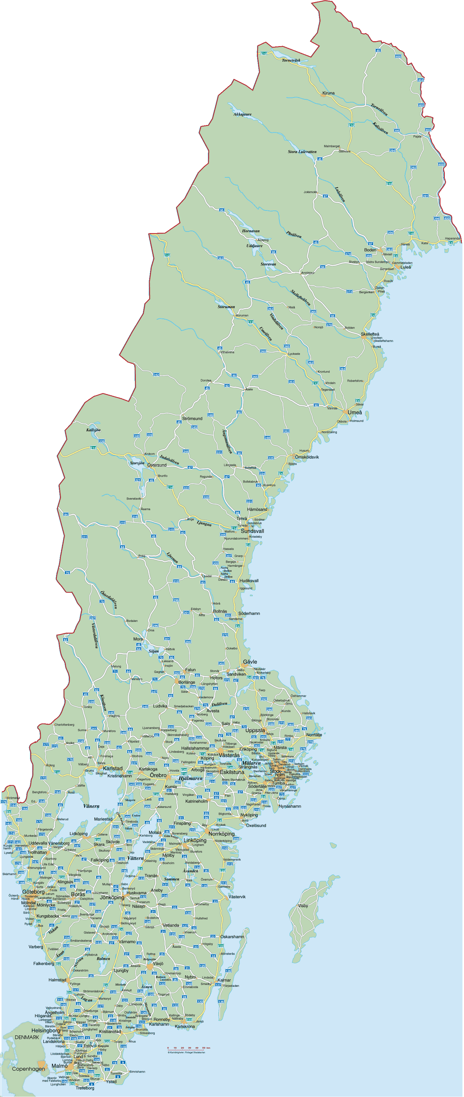 Sweden Road Map large map
