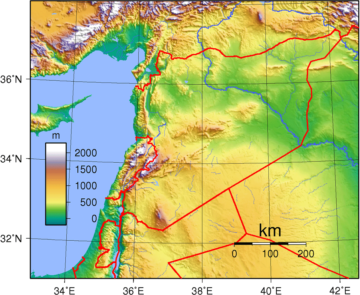 Syria Topography large map