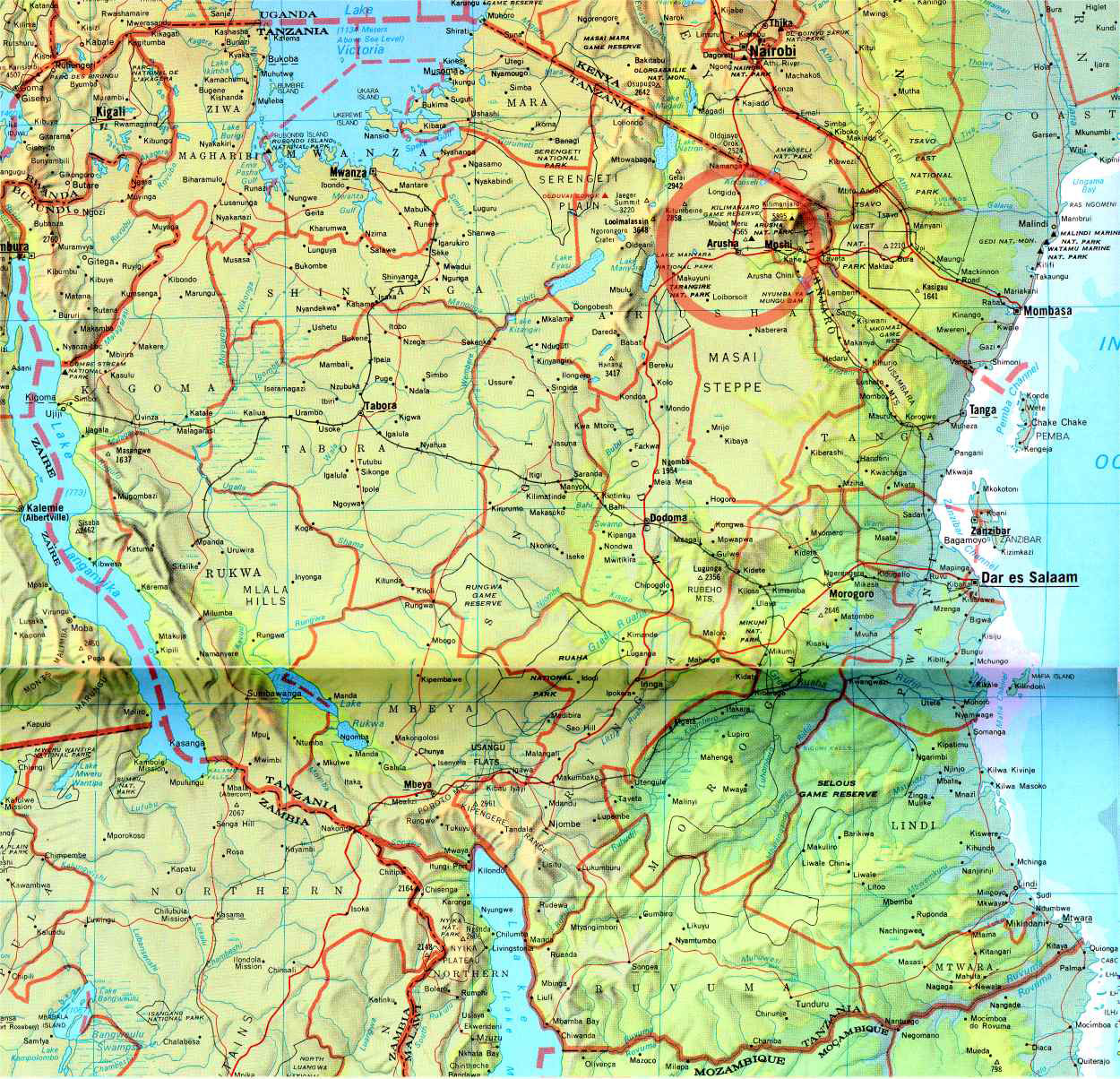 Tanzania Detailed Map Mapsofnet