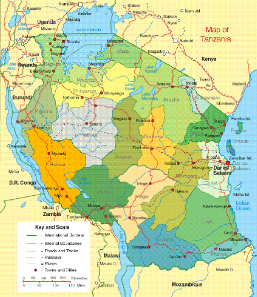 Tanzania Political Map large map