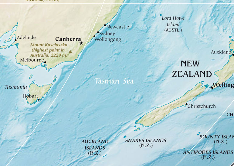 Tasman Sea large map