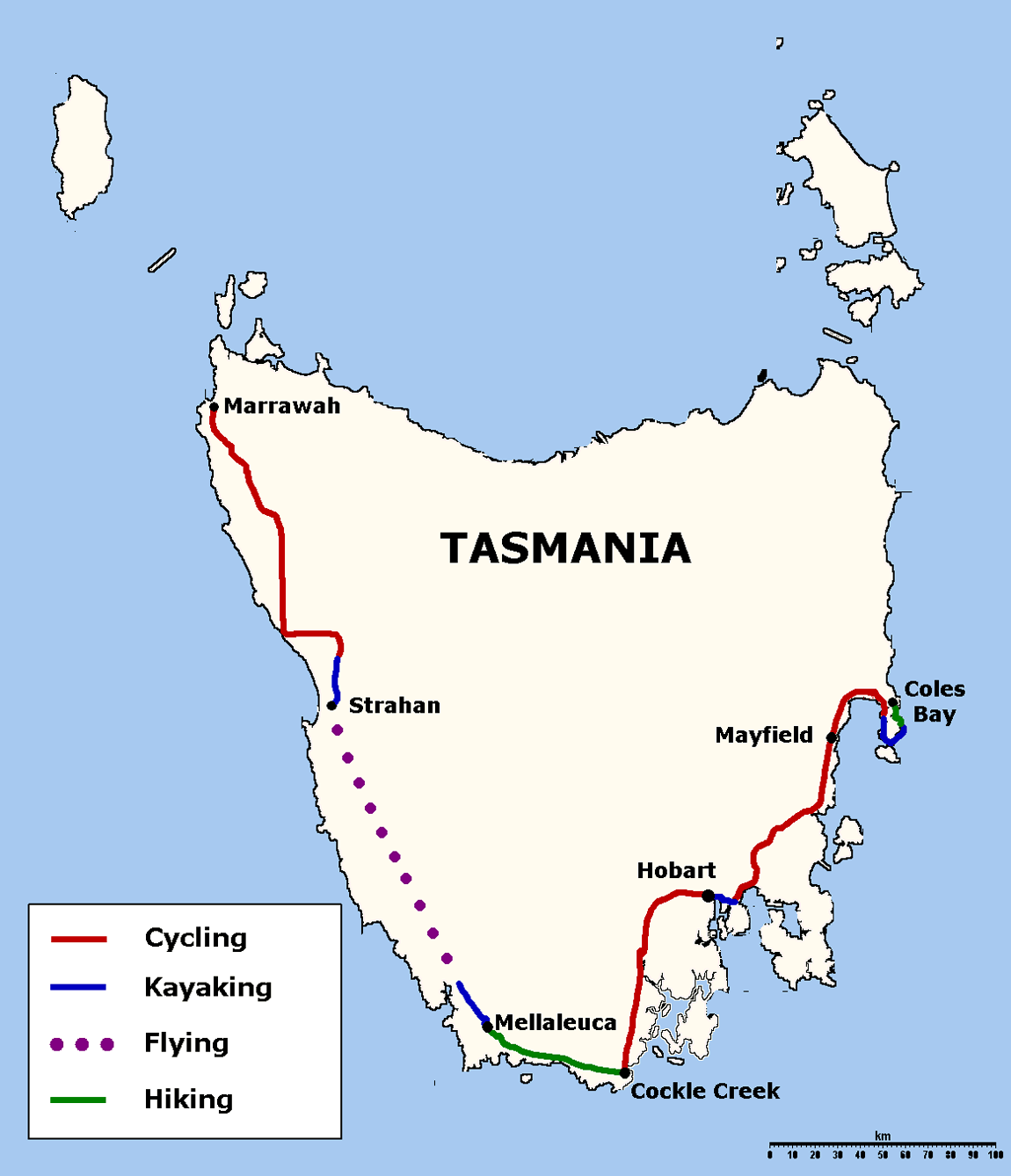 Tasmania large map