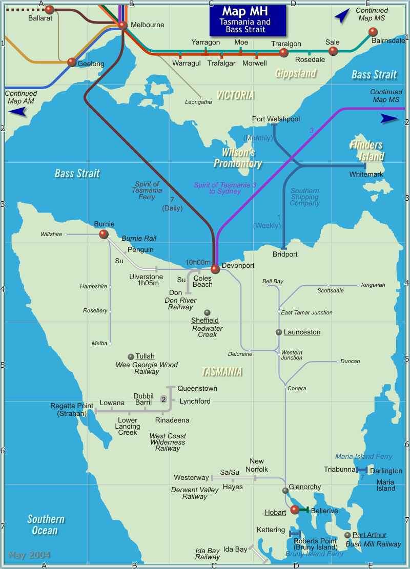 Tasmania Bass Strait Map large map