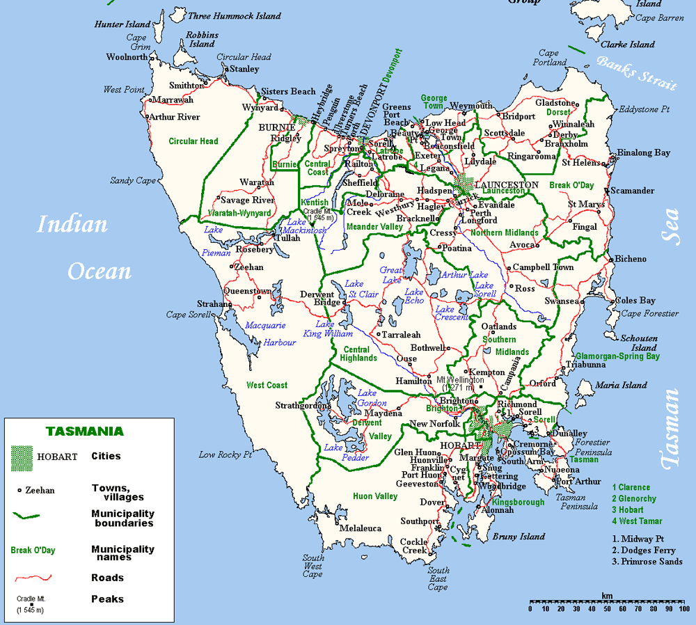 Tasmania Island large map