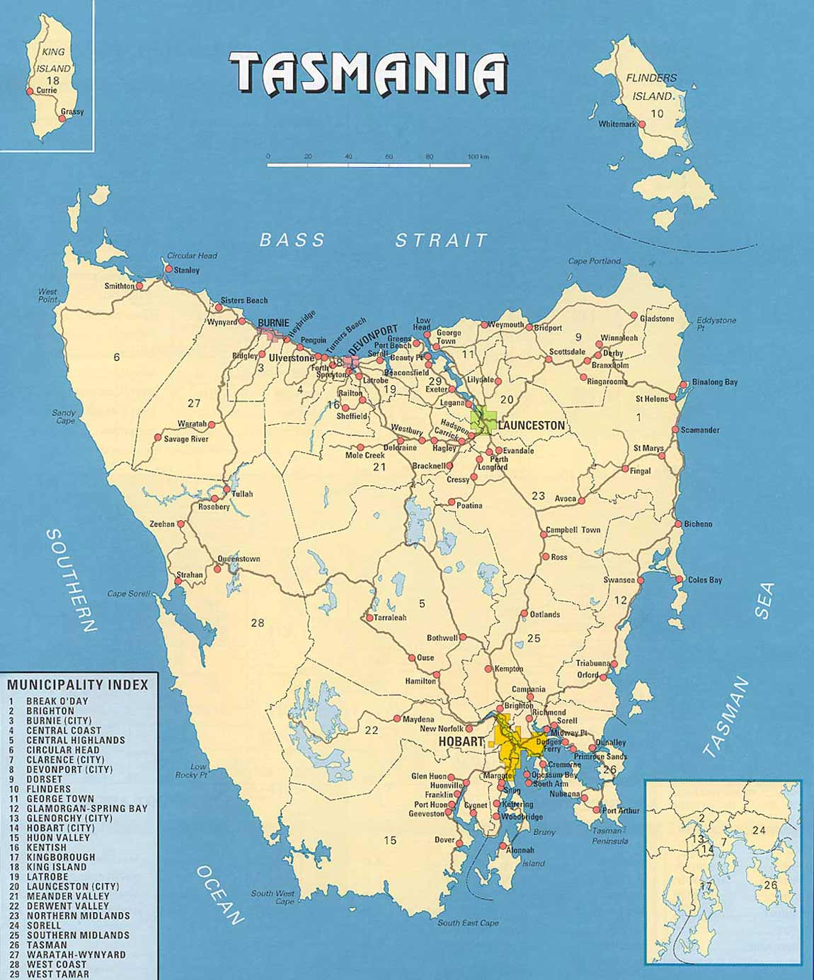 Tasmania Map large map