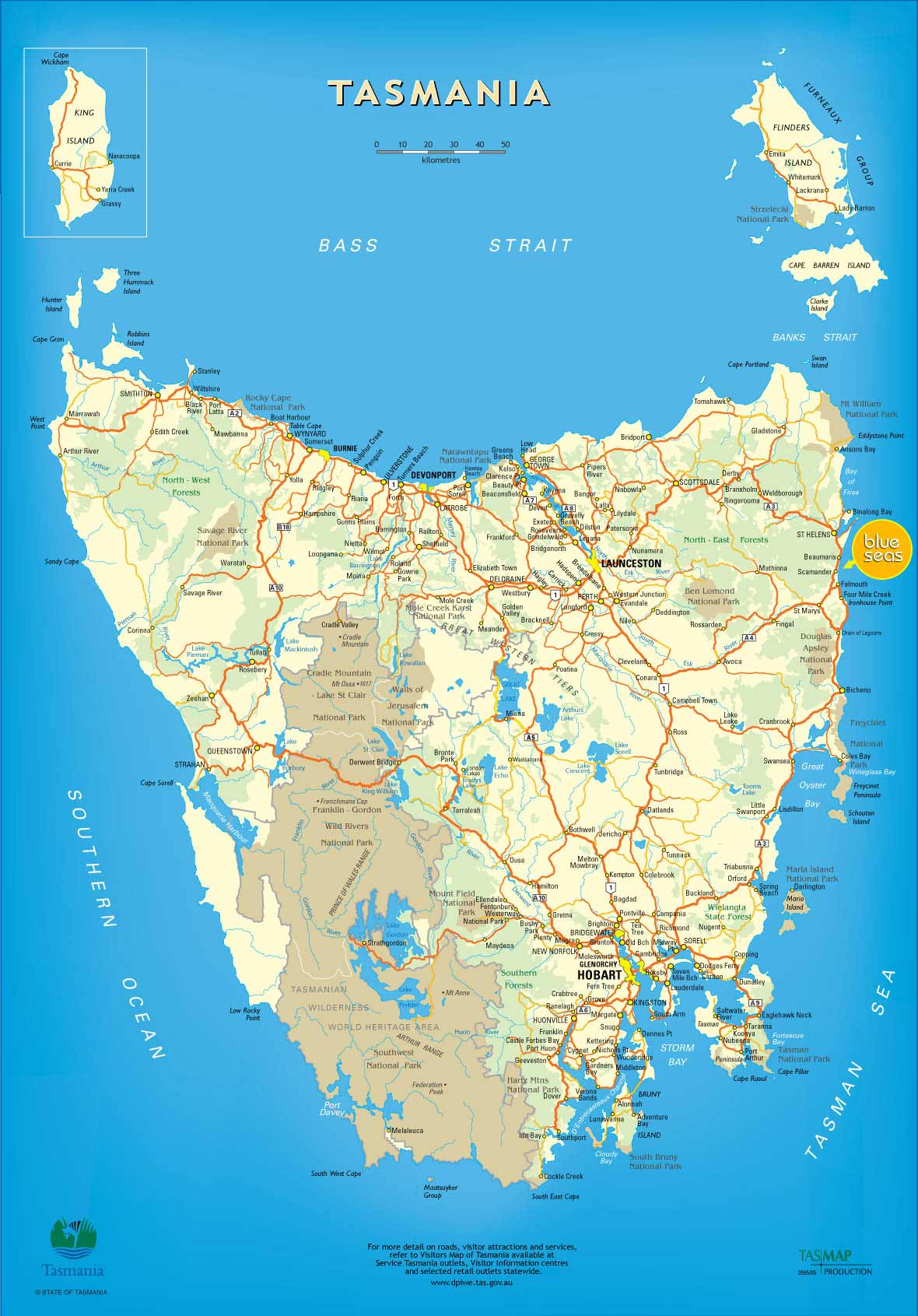 Tasmania Map 2 large map