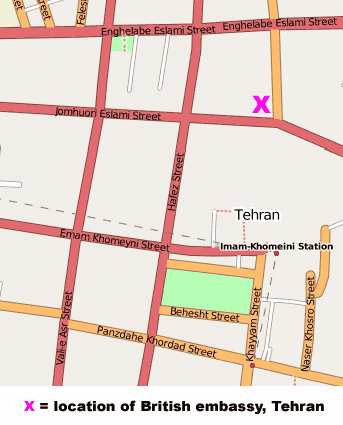 Tehran British Embassy Map large map