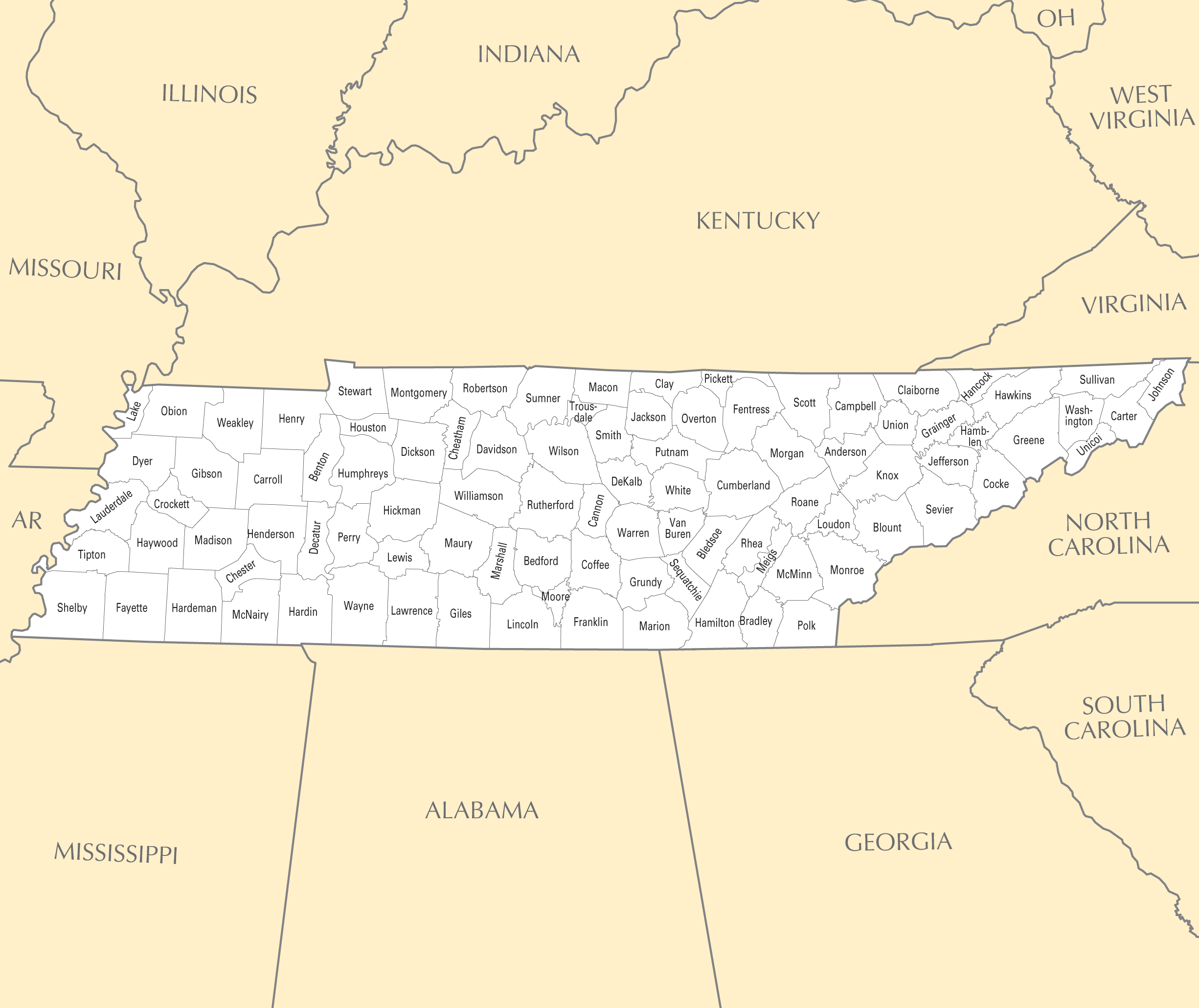 Tennessee County Map • Mapsof.net
