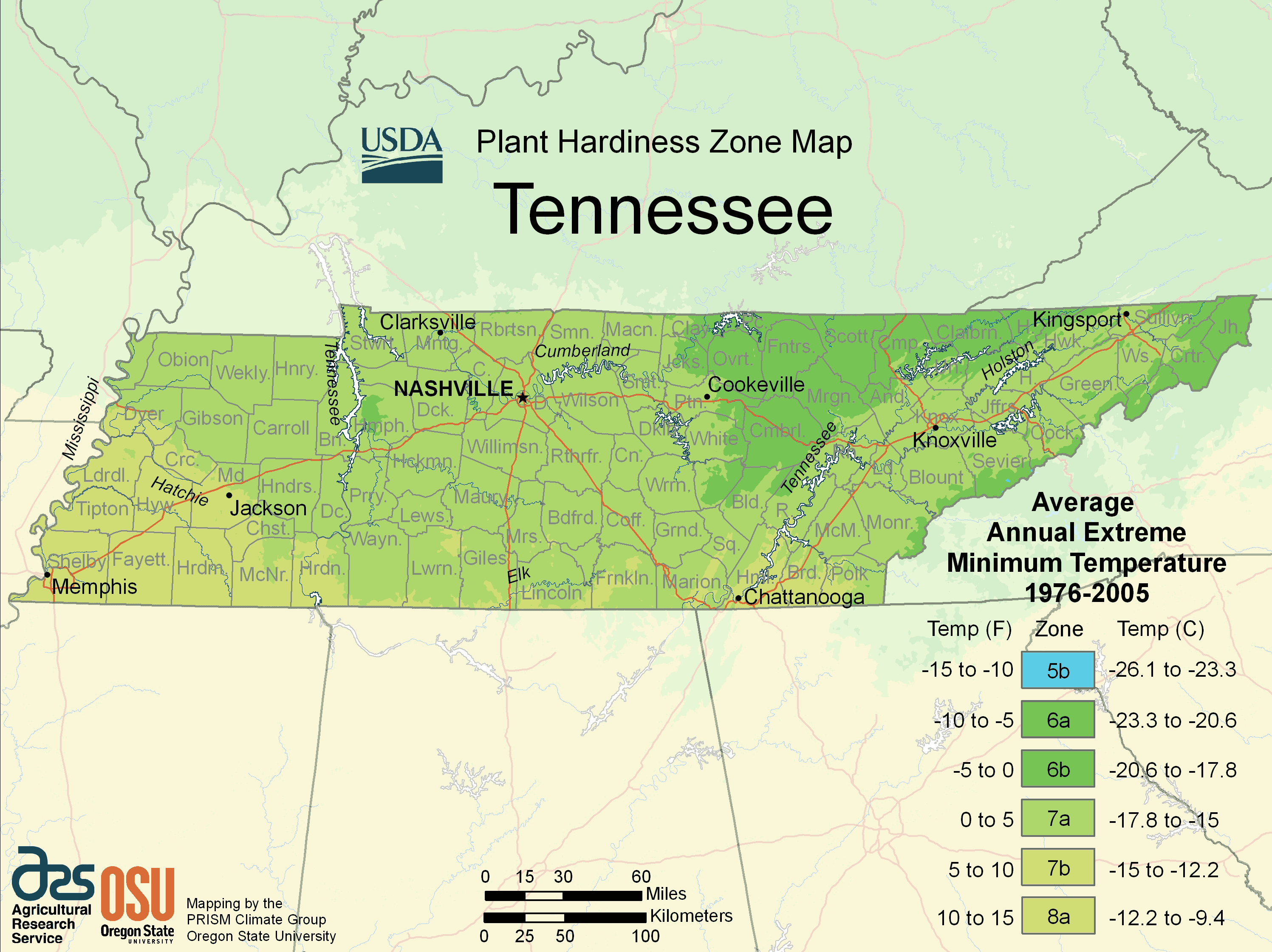 Tennessee Plant Hardiness Zone Map Mapsofnet - Tennessee maps