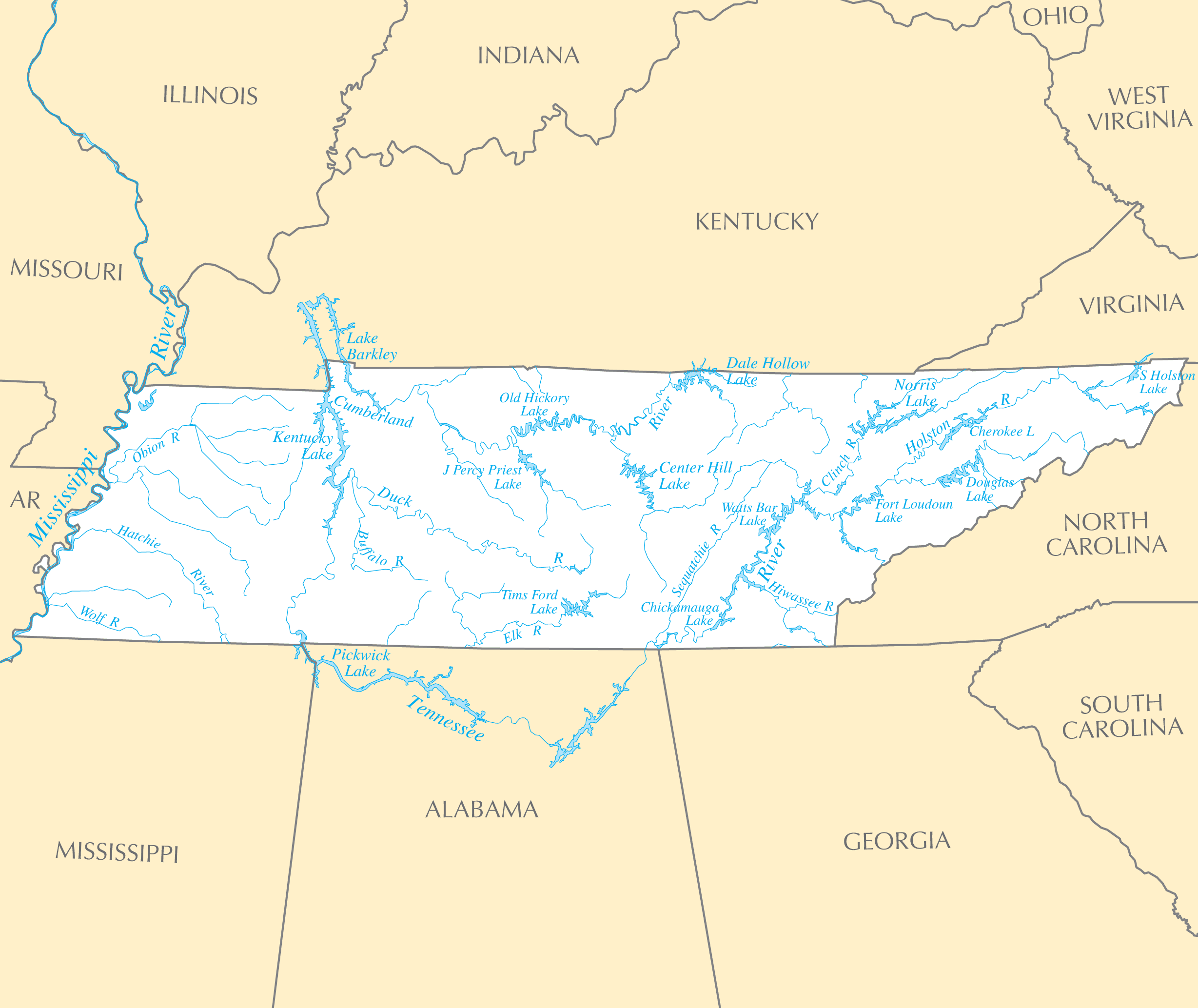 Tennessee Rivers And Lakes Mapsofnet - Georgia map lakes