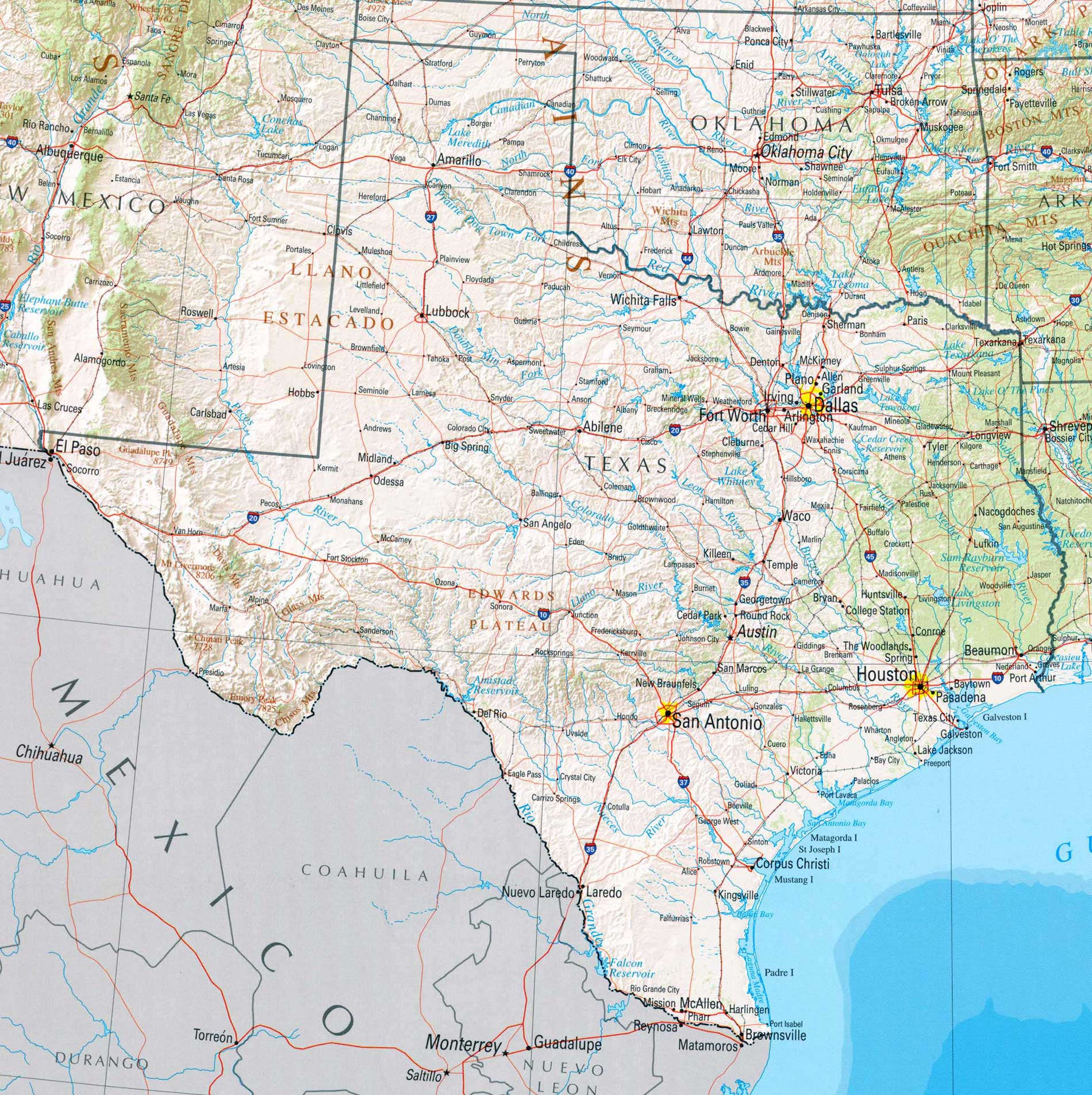Texas Map 2002 large map