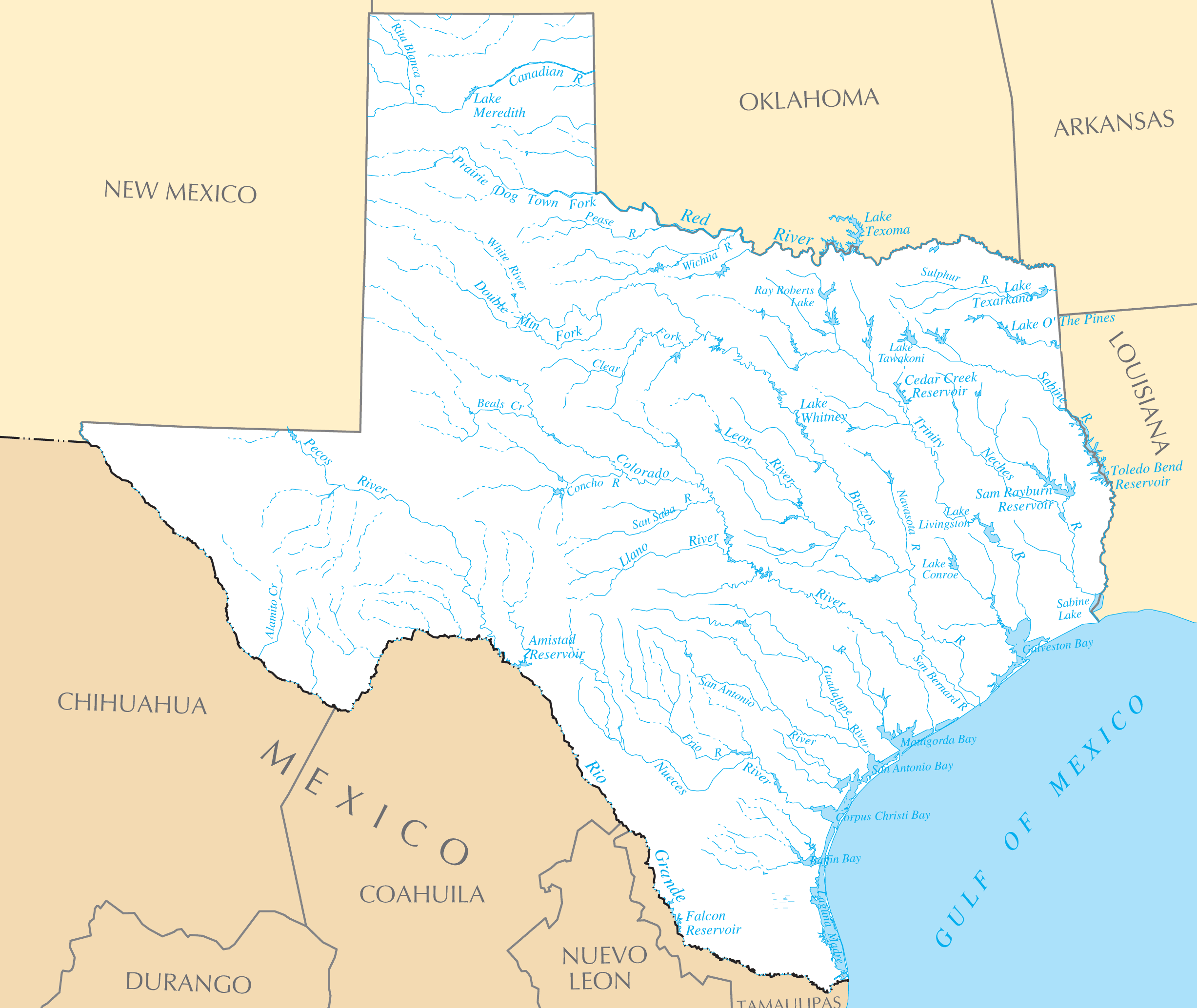 Texas Rivers And Lakes large map