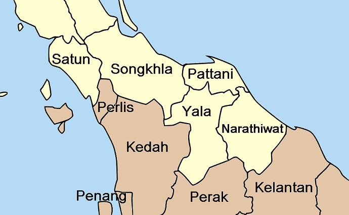 Thailand Deep South Named large map