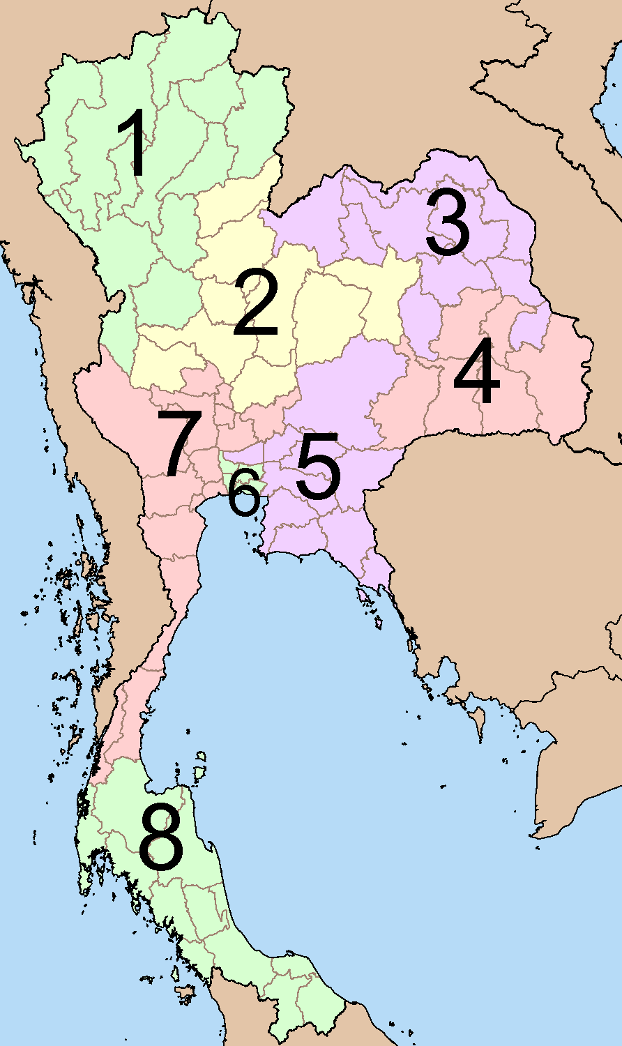 Thailand Electoral Areas 2007 large map