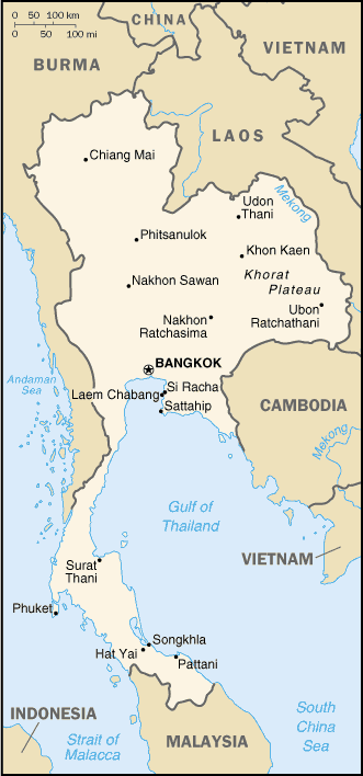 Thailand Map Cia large map