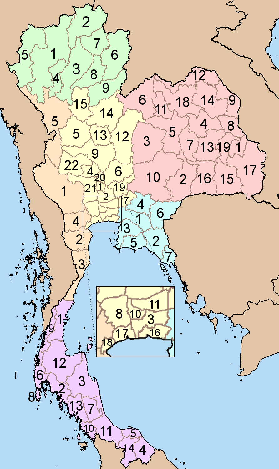 Thailand Provinces Six Regions Mapsofnet - Thailand blank map