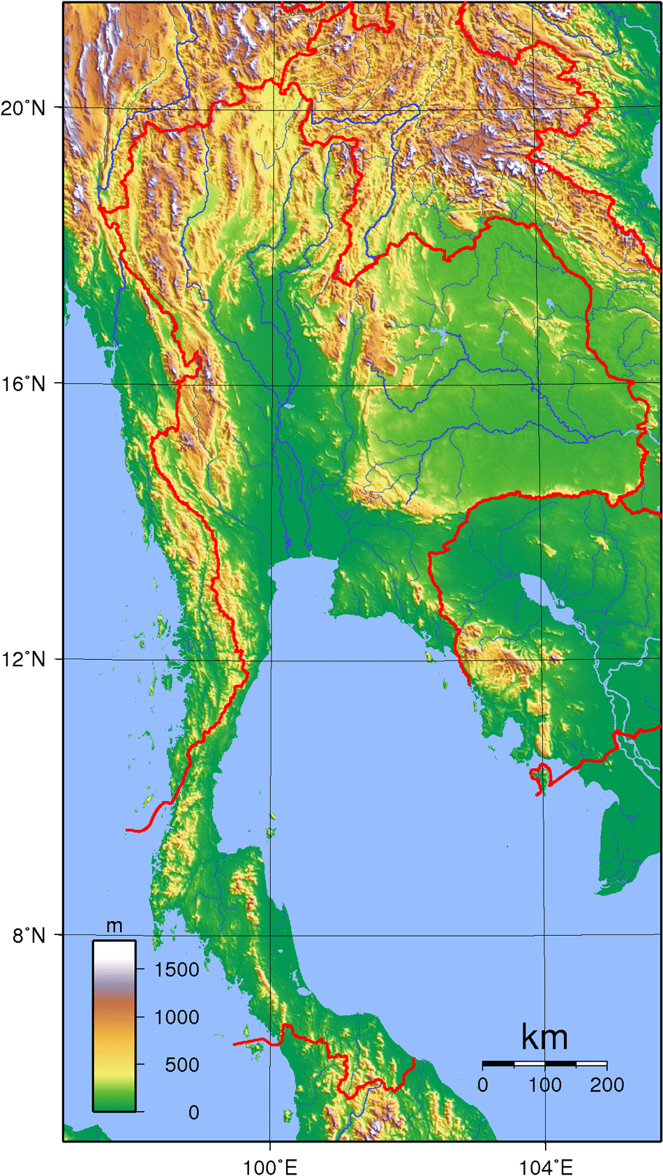 Thailand Topography large map