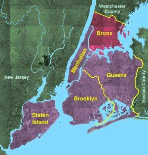 The Bronx Borough, New York large map