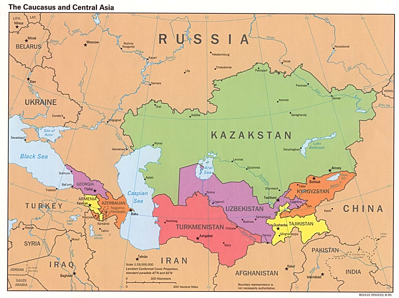 The Caucasus And Central Asia  Political Map 2 large map