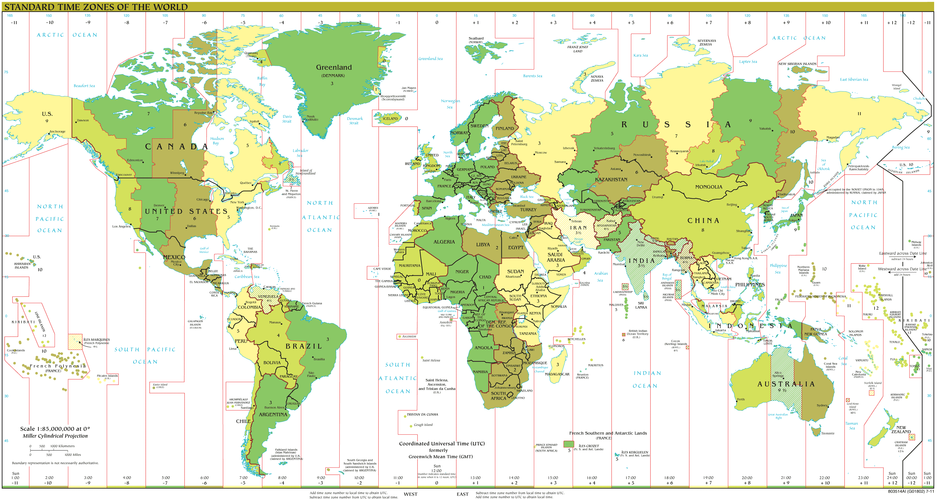 Time Zones 2012 large map