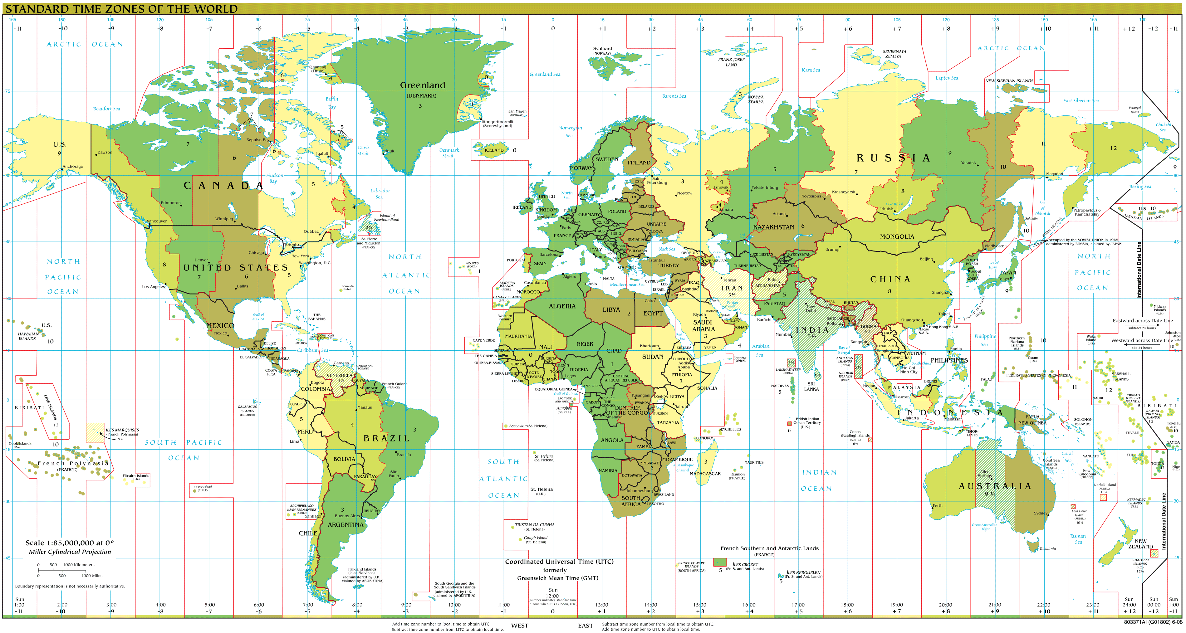 Time Zones Map Large • Mapsof.net