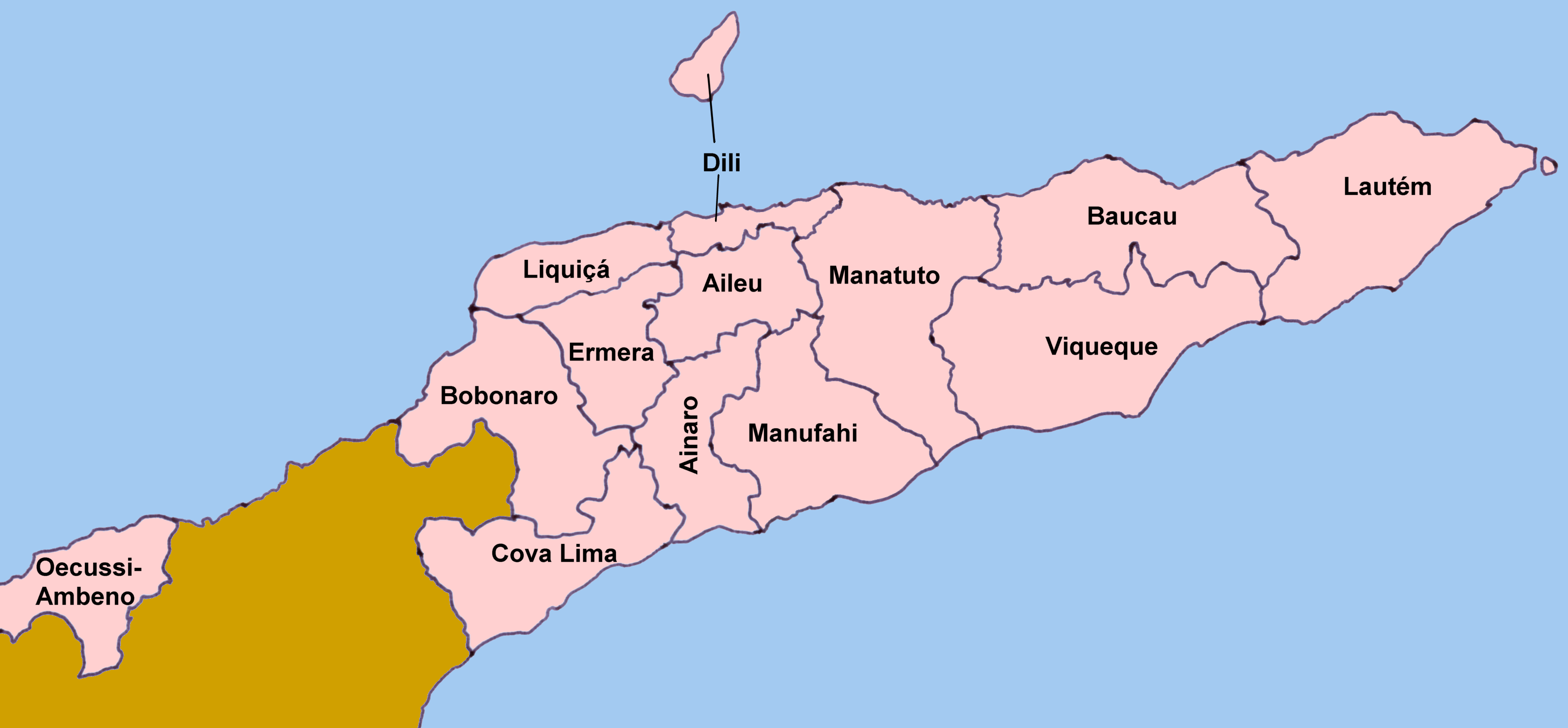 Timor Leste Districts Map large map