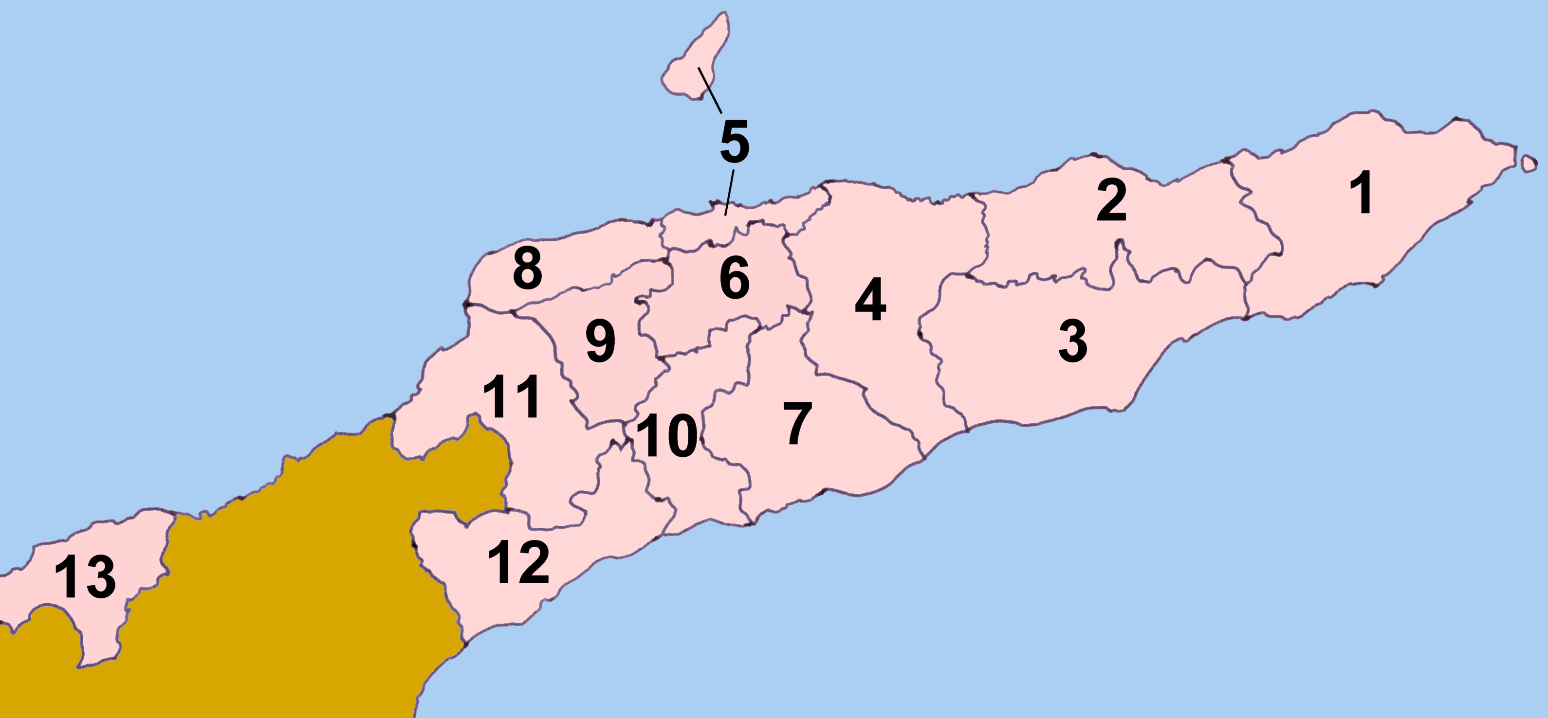 Timor Leste Districts Numbered large map