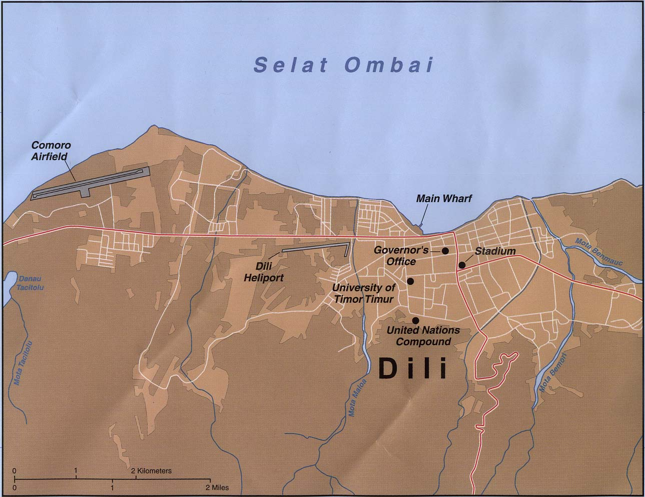 Timor Oriental Dili large map