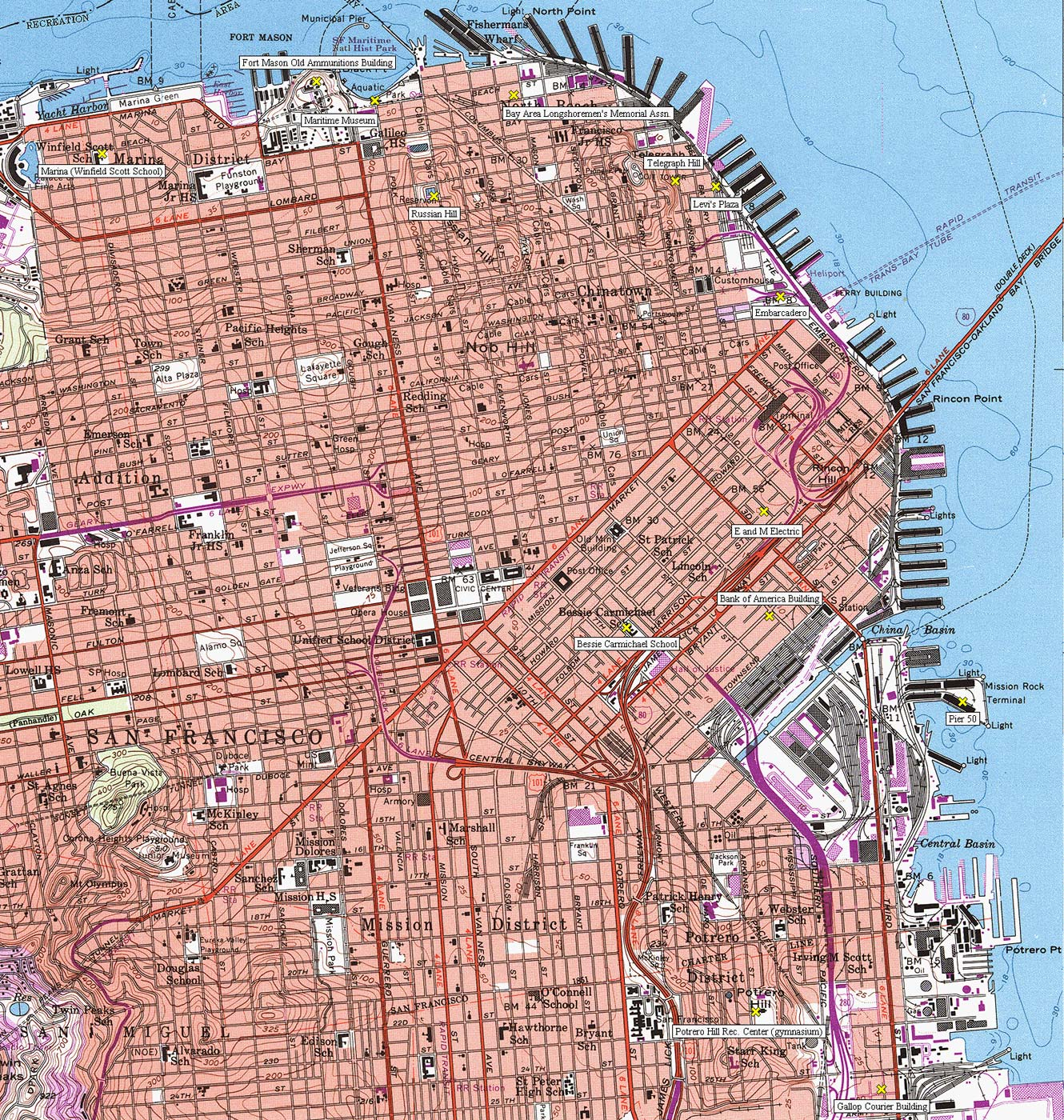 Topographic City Map San Francisco • Mapsof.net