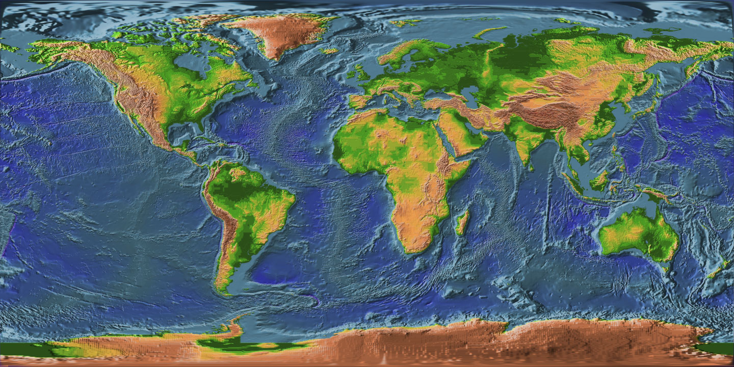 Topographic Map Earth Mapsofnet - Topographic map of the world