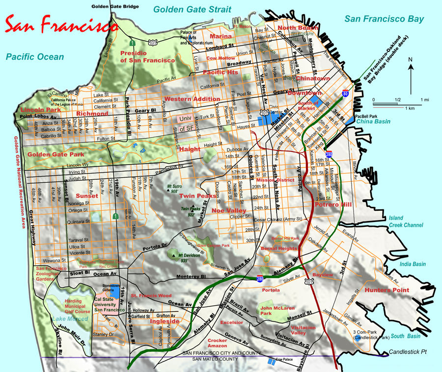 Topographic Map of San Francisco large map